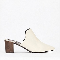 Evans - Extra Wide Fit White Heel Mules