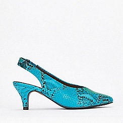 Evans - Extra Wide Fit Blue Slingback High Front Kitten Heels Sandals