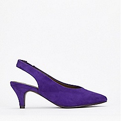 Evans - Extra Wide Fit Purple Slingback Kitten Heels
