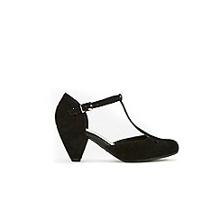 Evans - Extra wide fit black T-bar cone heeled shoes