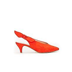 Evans - Extra wide fit orange bow kitten heel slingback sandals