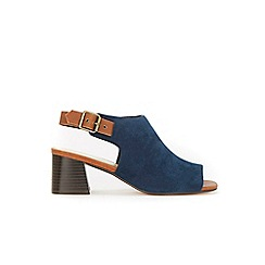 Evans - Extra wide fit navy blue highfronted flare heels