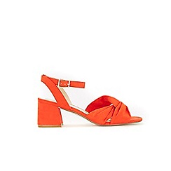 Evans - Extra wide fit orange knotted block heel sandals