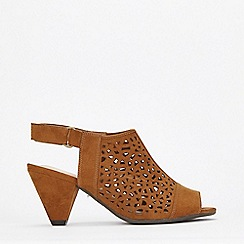 Evans - Tan Black Lazer Cut Out Cone Heels Shoes