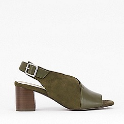 Evans - Extra Wide Fit Olive Peep Toe Heel Sandals