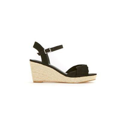 Evans - Wide fit black twist knot espadrille wedge sandals