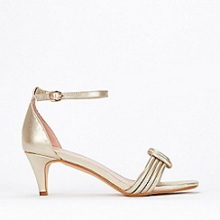 fa31f728c Evans - Extra Wide Fit Gold Padded Two Part Kitten Heels Sandals