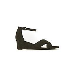 Evans - Extra wide fit black cross over wedge sandals