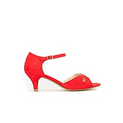 Evans - Extra wide fit red two part heel sandals