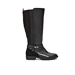 Evans - Extra Wide Fit Black Mix Material Long Rider Boots