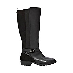 Evans - Wide fit black material mix long rider boots