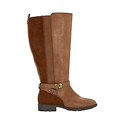 Evans - Extra wide fit brown long rider boots