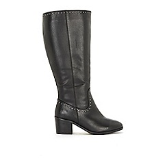 Evans - Extra Wide Fit Black Studded Block Heel Long Boots