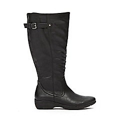 Evans - Extra wide fit black comfort wedge long boots
