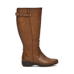 Evans - Extra wide fit brown comfort wedge long boots