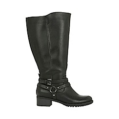 Evans - Extra wide fit black buckle strap long boots