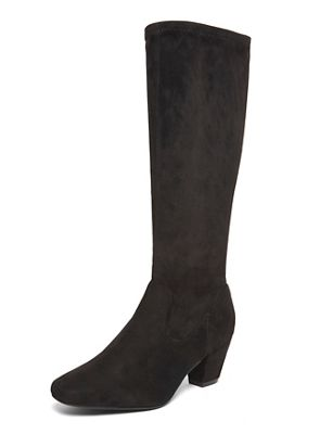 Evans - Extra wide fit black long stretch sock boots