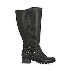 Evans - Wide fit black buckle ring strap long boots