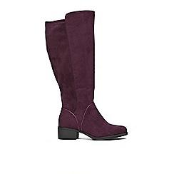 Evans - Extra Wide Fit Purple Over The Knee Block Heel Boots