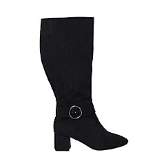Evans - Extra wide fit black circle buckle long boots