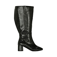 Evans - Extra wide fit black croc block heel knee high boots