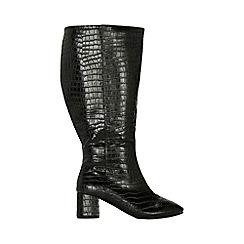 Evans - Wide fit black croc heel boots