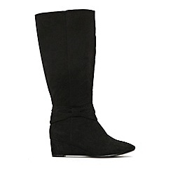 Evans - Extra wide fit black bow wedge long boots
