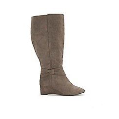 Evans - Extra Wide Fit Grey Bow Detail Long Boots