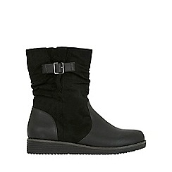 Evans - Extra wide fit black rouched ankle boots