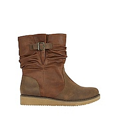 Evans - Extra wide fit brown ruched calf ankle boots