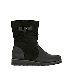 Evans - Wide fit black rouched ankle boots