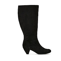 Evans - Extra wide fit black knee high heel boots