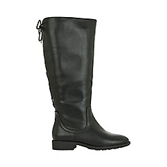 Evans - Black lace up knee high boots
