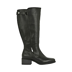 Evans - Extra wide fit black square popper boots