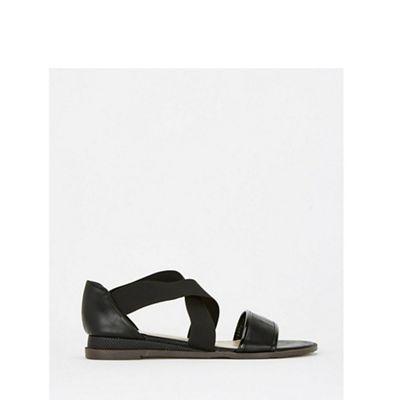 Evans - Extra wide fit black crossover sandals