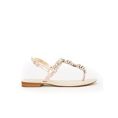 Evans - Extra wide fit silver diamante swirl sandals