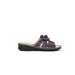 Evans - Extra wide fit purple leather flower trim sandals