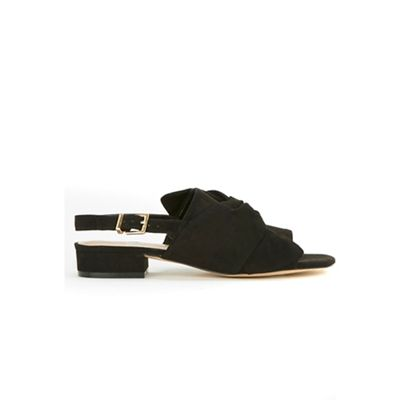 Evans - Extra wide fit black suedette sling back mule sandals