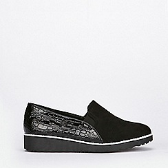 Evans - Extra wide fit black slip on loafers