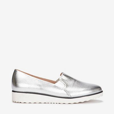 2758a666069 Evans - Extra wide fit silver slip on loafers