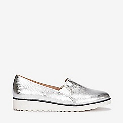 Evans - Extra wide fit silver slip on loafers