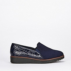Evans - Extra wide fit navy slip on loafers