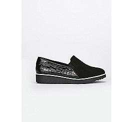 Evans - Wide fit black slip on loafers