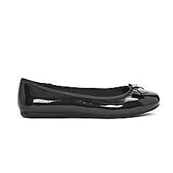 Evans - Extra wide Fit Black Patent Bow Detail Ballet Shoes