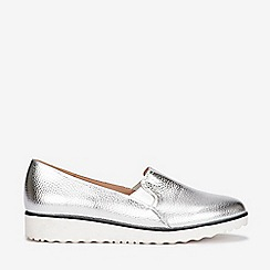 Evans - Wide fit silver slip on loafers
