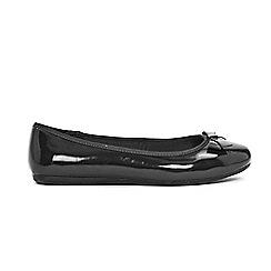Evans - Wide fit black patent bow detail ballet shoes
