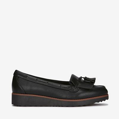 55a17c28b865a Evans - Extra wide fit black tassel loafers