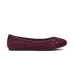 Evans - Extra Wide Fit Red Button Detail Ballet Pumps