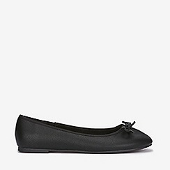 Evans - Extra wide fit black bow ballerina
