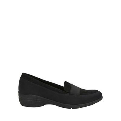 Evans   Extra Wide Fit Black Elastic Comfort Wedge Shoes by Evans
